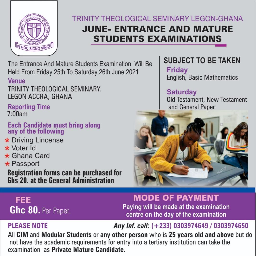 June Entrance and Mature Students Examinations